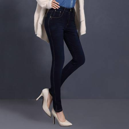 施悦名 秋季新款时尚修身铅笔牛仔裤显瘦小脚裤弹力高腰铅笔裤大码女长裤