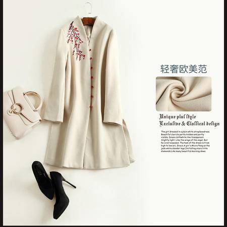 施悦名 欧洲站冬季新款大码女装绣花呢子大衣中长款风衣毛呢外套