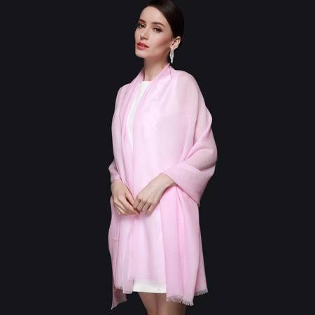 施悦名 80支羊毛围巾女士秋冬纯色长款大披肩两用 韩版新款韩版围脖