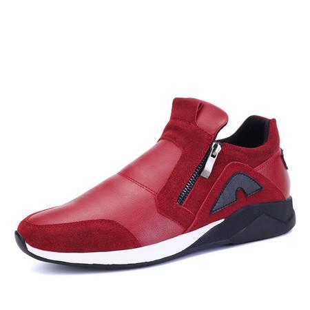 小童马 新款男鞋时尚潮流日常男士休闲皮鞋子百搭运动真皮透气单鞋   JPWP01
