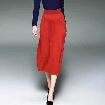 施悦名 秋冬毛织百褶裙中长款半身裙A字摆风琴压褶裙子羊毛针织裙女