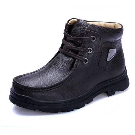 小童马 真皮高端男靴牛皮保暖绒里商务休闲男靴男士短靴高档保暖靴子 CD82203609