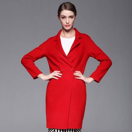 施悦名 毛呢外套女装新款翻驳领双面呢澳州羊毛大衣女