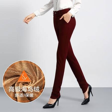 施悦名 2016新款冬加绒加厚西裤女修身直筒裤大码休闲裤外穿纯色女裤