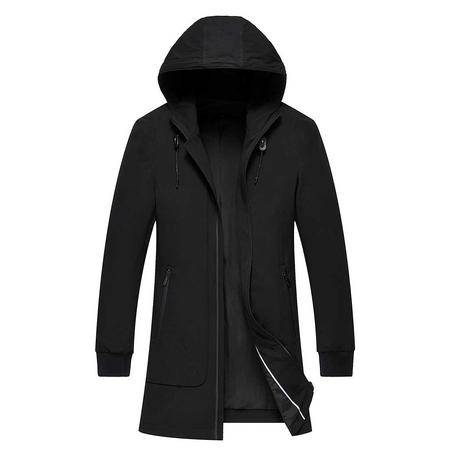 汤河之家 2016新款男式中长款薄款连帽风衣 秋季时尚商务休闲立领大衣   F163007