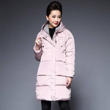 施悦名 2016中年女装棉服外套中长款韩版显瘦连帽棉衣女