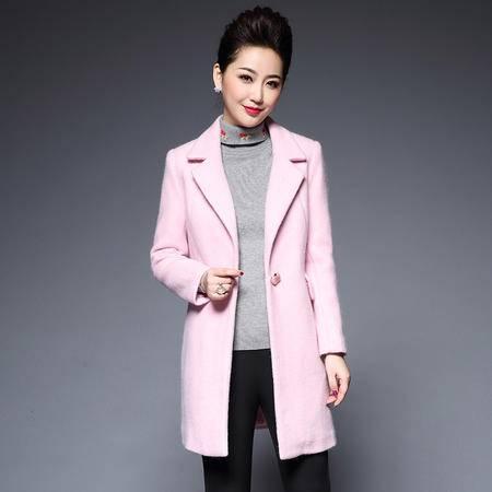 施悦名 秋冬季新款女装时尚显瘦毛呢外套中长款长袖一粒扣大衣