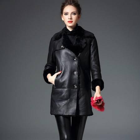 施悦名 欧美高端羊毛皮草外套女中长款简约真羊皮毛一体女大衣两面穿