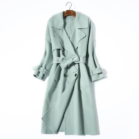 施悦名 2016新款中长款加厚系带羊毛外套女