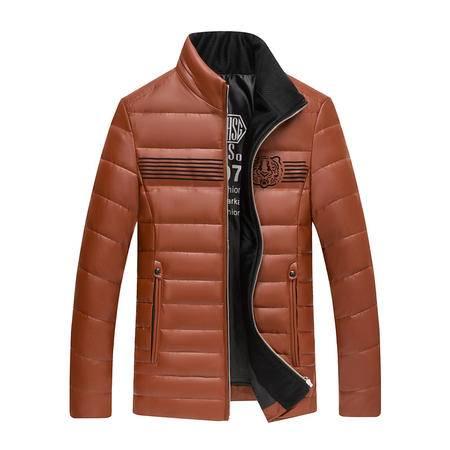 汤河之家 2016男装新款中年男士羽绒服品牌厚款男式皮羽绒服男款纯色外套   19068