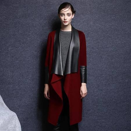 施悦名 2016秋冬新款欧洲站皮领子长款大衣 女装纯色双面羊绒呢外套