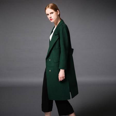 施悦名 2016新款秋冬新款手工双面羊绒大衣羊毛欧美风格长款