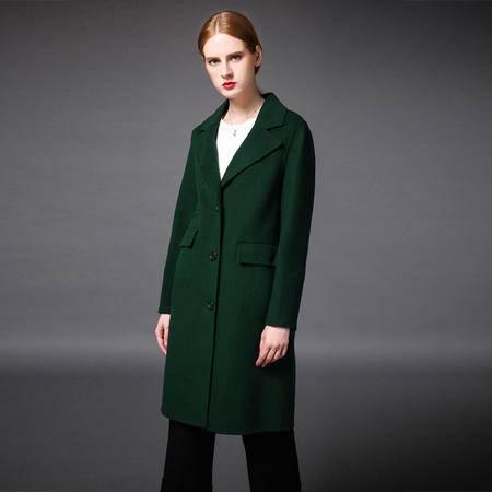 施悦名 2016新款手工双面羊绒大衣中长款欧美风双面羊毛