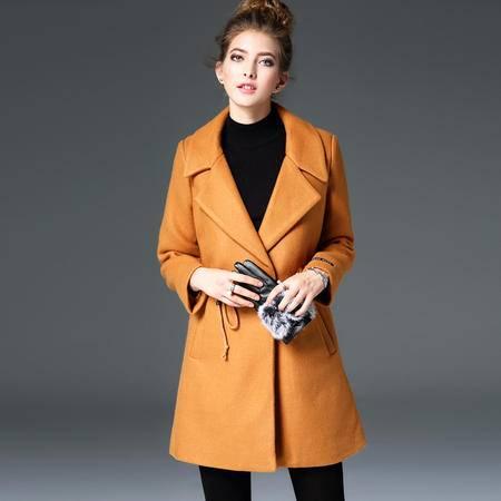 施悦名 欧洲站2016秋冬季新款女装欧美纯色毛呢大衣加厚呢子外套女