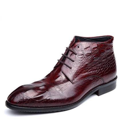 小童马 爆款欧美马丁靴男士真皮靴子鳄鱼纹男靴尖头短靴秋冬军靴 Q152-17