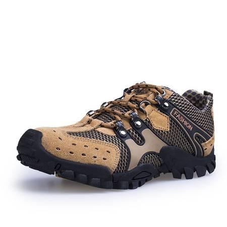 小童马 反绒皮男鞋男士户外徒步登山鞋时尚休闲运动鞋透气网布鞋 HT1288