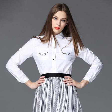 施悦名 2016品牌时尚女装日系小清新刺绣笑脸睫毛图案长袖白衬衫