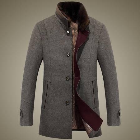 汤河之家 2016冬季新款呢子大衣男士修身中年爸爸立领毛呢外套爸爸装 8526