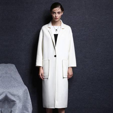 施悦名 手工双面羊绒大衣2016新款羊毛长款修身秋冬毛呢外套女装