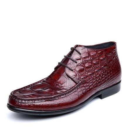小童马 秋冬新款皮靴男英伦复古马丁靴鳄鱼纹系带圆头男靴真皮   H3350-2