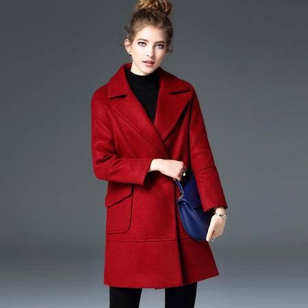 施悦名 欧洲站2016秋冬季新款女装欧美大牌中长款毛呢大衣女士外套