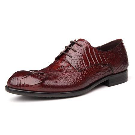 小童马 真皮鳄鱼纹男鞋 商务正装皮鞋青年德比鞋子尖头系带单鞋 YZ07-8