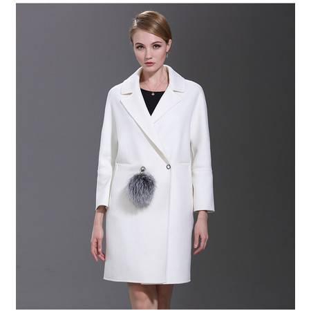 施悦名 2016新款收腰双面羊毛绒大衣毛呢外套女带银狐毛球九分袖