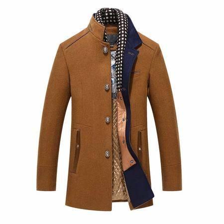 汤河之家 秋冬新款羊绒外套 中长款修身休闲立领风衣 男羊毛呢大衣男爆款 1523