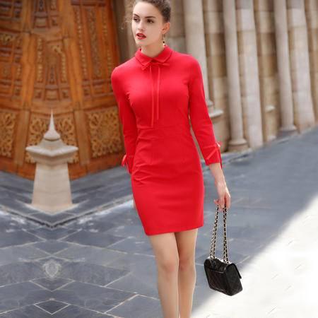 施悦名 2016女装秋季新品蝴蝶结红色裙子娃娃领针织连衣裙结婚新娘回门装