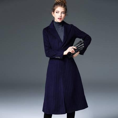 施悦名 欧洲站2016秋冬新款女装纯手工双面呢羊绒大衣条纹修身外套