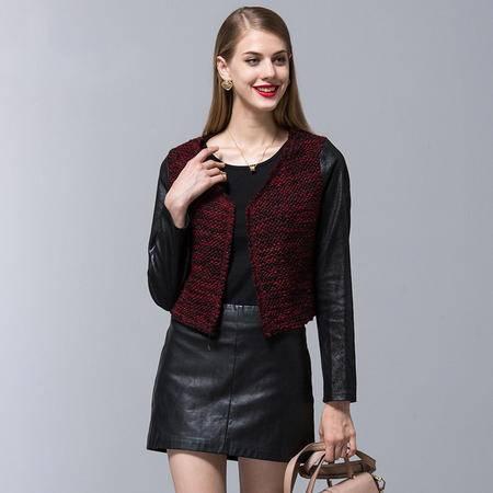 施悦名 016秋冬欧洲品牌原创女装pu+针织拼接长袖女式短外套修身上衣女