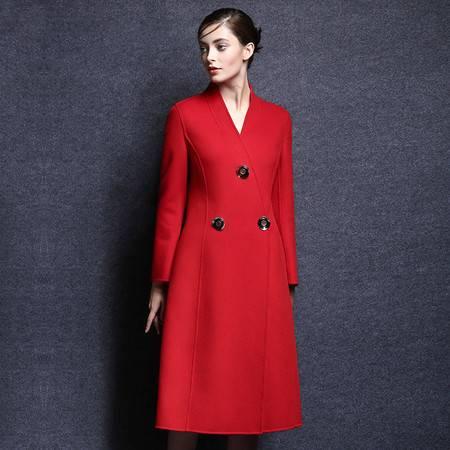 施悦名 2016新款毛呢外套女长款羊绒大衣女秋冬装双面呢大衣