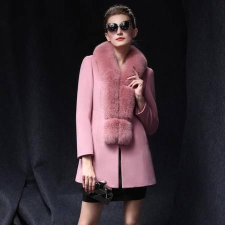 施悦名 2016秋冬新款女超大狐狸毛领修身中长款羊毛呢大衣外套潮
