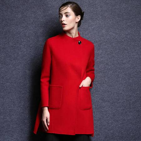 施悦名 2016秋冬新款双面呢羊绒大衣显瘦A字版女大衣