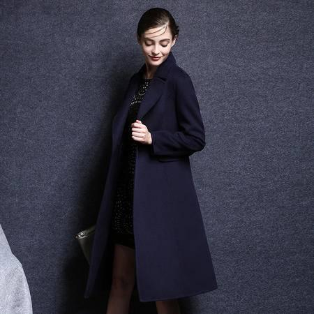 施悦名 2016秋冬新款双面呢加长款羊毛绒大衣显瘦过膝女装外套