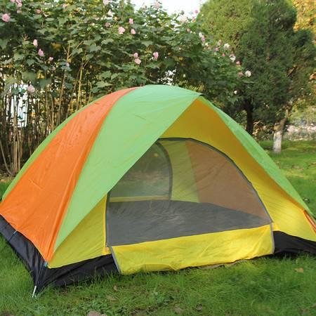 洋湖轩榭 经典3-4人双层防紫外线休闲露营帐篷双门通风透气户外用品