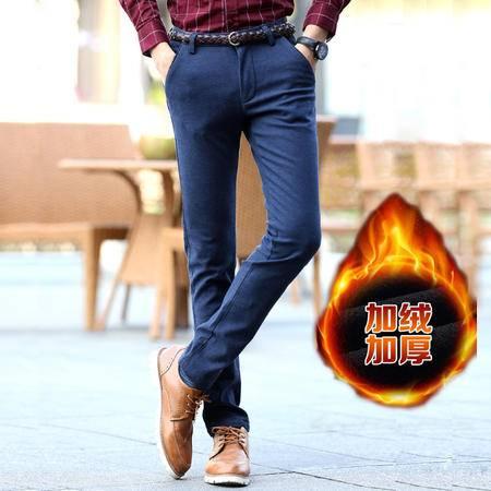 汤河之家 休闲裤男冬季新款青年男士加厚加绒保暖小直脚裤修身长裤子 RZ-LFCR8621(加绒款)