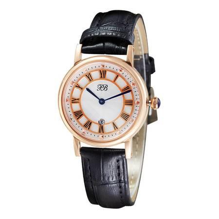 洋湖轩榭 简约韩版手表 休闲时尚女表 防水皮带石英表