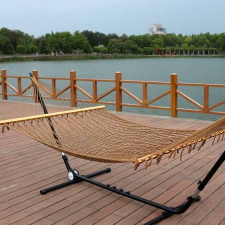 洋湖轩榭 高档锦纶吊床带木棒进口榉木 k网吊床单双人
