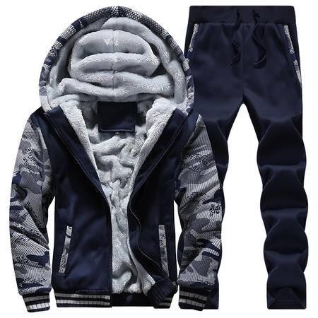 汤河之家 卫衣套装男 2016冬季新款韩版休闲加厚加绒超保暖青少年男士套装   RZ-JCD62
