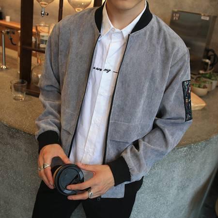 汤河之家 灯芯绒男装外套 韩版潮流男士夹克秋季新款立领修身夹克   RZ-J24