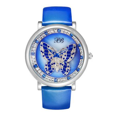 洋湖轩榭 手表表面真皮时尚韩版水晶手表女士腕表
