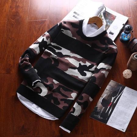 汤河之家 毛衣男 2016冬季新款韩版修身圆领套头时尚潮流迷彩针织衫青少年   RZ-WXM859