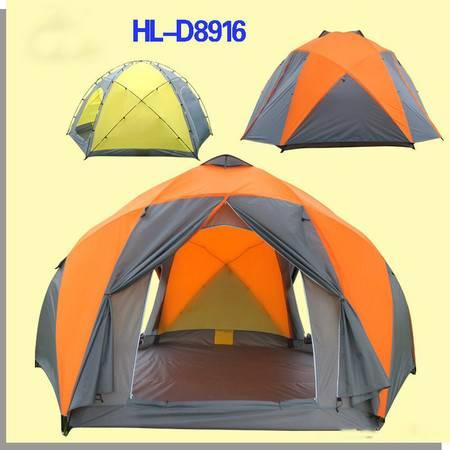 洋湖轩榭 十人双门双层高档户外帐篷 玻杆铝杆可定制