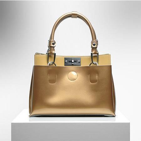 小童马 新款女包撞色漆皮糖果色牛皮手提包时尚韩版女士包包   28007