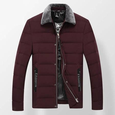 汤河之家 冬季新品中年男式羽绒服 翻领羊毛毛领男士厚款外套   8210