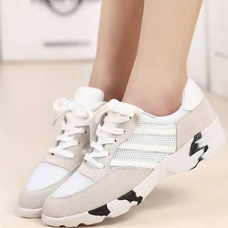 双十一秒杀!牛皮拼网鞋休闲运动女鞋旅游鞋正码!质量不值随时退换补运费五元!