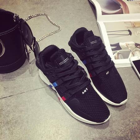 伦斯威尔新款时尚韩版运动户外女单鞋休闲鞋舒适透气网鞋简约百搭