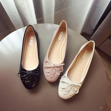 新款舒适休闲女单鞋简约平底豆豆鞋花边蝴蝶结甜美休闲女鞋防滑橡胶底平底鞋