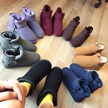 LORSVON秋冬磨砂牛皮面料女棉鞋加棉保暖雪地靴低筒套脚七彩色简约金属扣